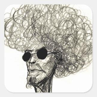 Hombre fresco con el tipo enorme del Afro del pelo Pegatina Cuadrada