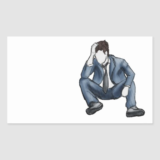 Hombre frustrado pegatina rectangular