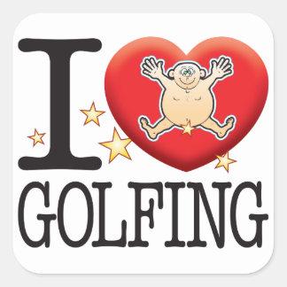 Hombre Golfing del amor Pegatina Cuadrada