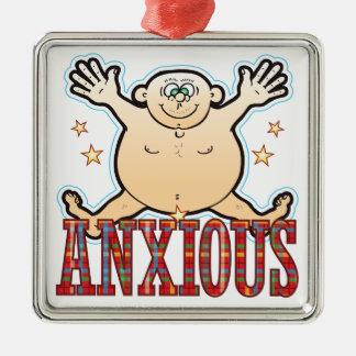 Hombre gordo ansioso adorno navideño cuadrado de metal