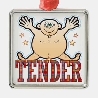 Hombre gordo blando adorno navideño cuadrado de metal