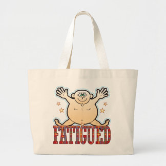 Hombre gordo cansado bolsa tela grande