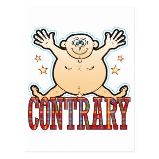 Hombre gordo contrario tarjeta postal