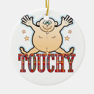 Hombre gordo delicado adorno navideño redondo de cerámica
