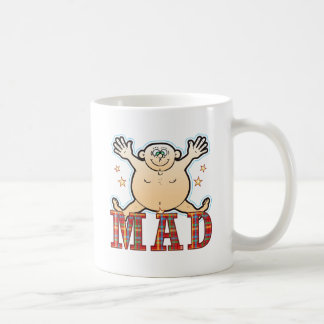 Hombre gordo enojado taza