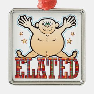 Hombre gordo exaltado adorno navideño cuadrado de metal