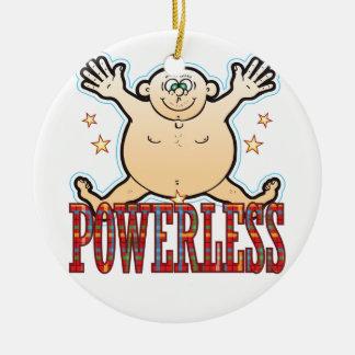 Hombre gordo impotente adorno navideño redondo de cerámica