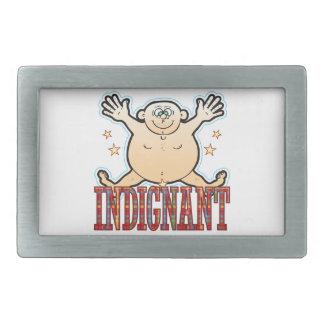 Hombre gordo indignado hebilla de cinturón rectangular
