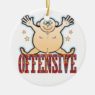 Hombre gordo ofensivo adorno navideño redondo de cerámica