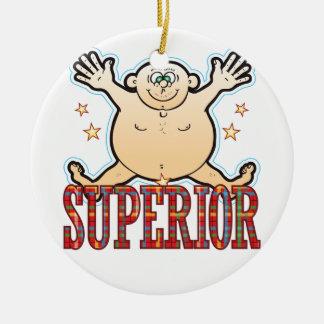 Hombre gordo superior adorno navideño redondo de cerámica