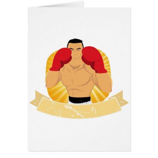 Hombre grande del boxeo del vintage tarjeta de felicitación
