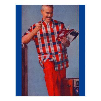 hombre grande en rojo y tela escocesa tarjeta postal