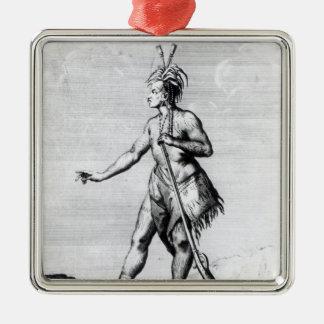 Hombre Iroquois, habitante de Canadá Adorno Cuadrado Plateado