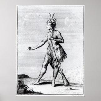 Hombre Iroquois habitante de Canadá Impresiones