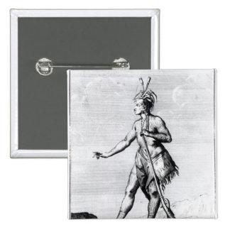 Hombre Iroquois, habitante de Canadá Pin Cuadrado