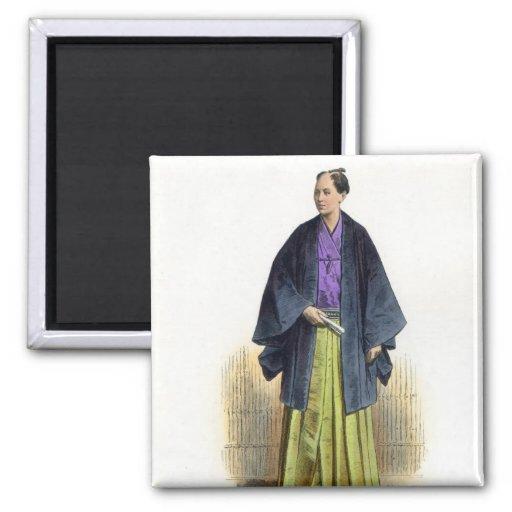 Hombre japonés en traje tradicional imán cuadrado