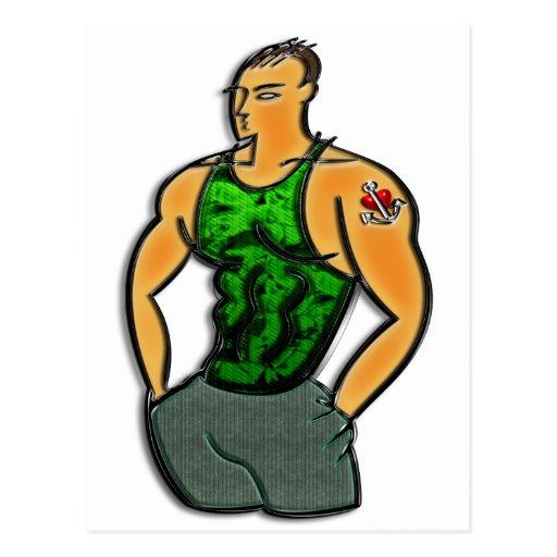 Hombre joven con la impresión del tatuaje del cora postal
