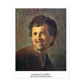 Hombre joven de risa por el círculo de Rembrandt Tarjetas Postales