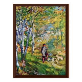 Hombre joven en el bosque de Fontainebleau Postal