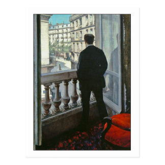 Hombre joven en la ventana de Gustave Caillebotte Postal