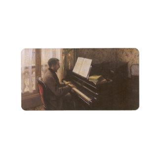 Hombre joven que juega el piano de Gustave Etiqueta De Dirección
