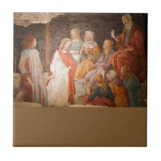 Hombre joven saludado por siete humanidades de azulejo cuadrado pequeño