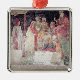 Hombre joven saludado por siete humanidades ornamento de navidad