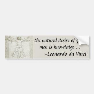 Hombre Leonardo da Vinci arte renacentista de Vit Etiqueta De Parachoque