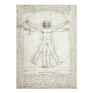 Hombre Leonardo da Vinci arte renacentista de Vit Invitación Personalizada