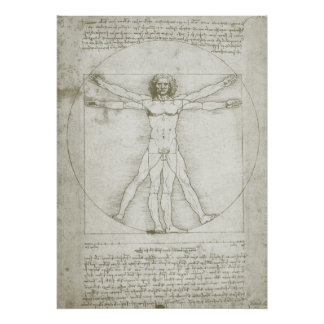 Hombre Leonardo da Vinci arte renacentista de Vit Poster