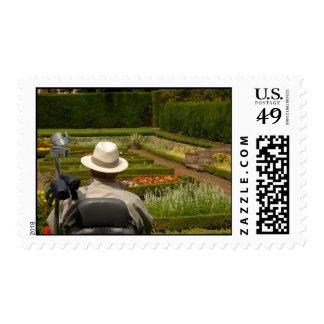 Hombre lisiado en silla de ruedas en jardín sellos