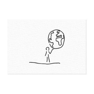 Hombre lleva mundo bala de mundo globo