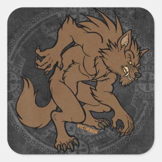 Hombre lobo de Brown Calcomanía Cuadradas Personalizadas