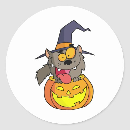 Hombre lobo de Halloween del dibujo animado Pegatinas Redondas