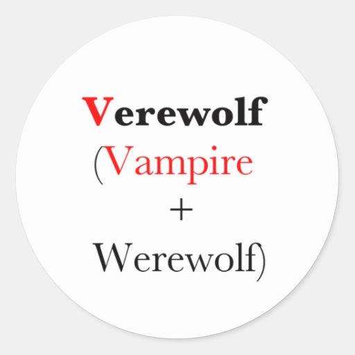 hombre lobo del vampiro del verewolf etiqueta redonda