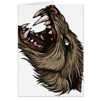 Hombre lobo enojado tarjeta de felicitación