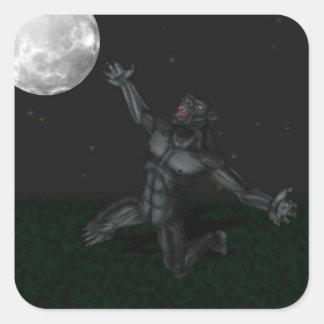 Hombre lobo Lycan que grita y que aúlla en la luna Colcomanias Cuadradas