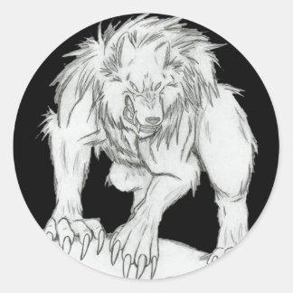 Hombre lobo etiqueta redonda