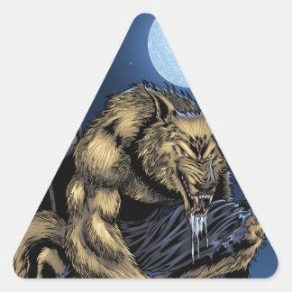 Hombre lobo pegatina triangular