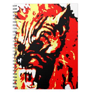 Hombre lobo rojo, amarillo, negro libros de apuntes con espiral