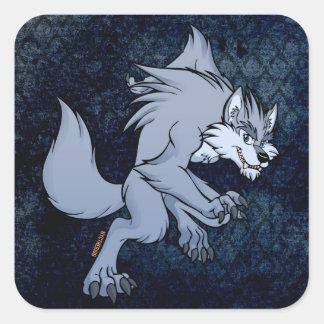 Hombre lobo Toon 2014 Calcomanias Cuadradas