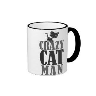 Hombre loco del gato taza de dos colores