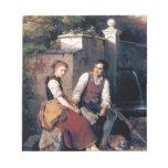 Hombre medieval de la mujer del amor que pinta rom
