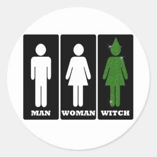 Hombre, mujer, bruja, Dorothy Pegatina Redonda