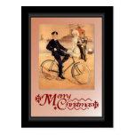 Hombre naval en una bicicleta tarjeta postal