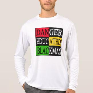 Hombre negro educado del peligro camisetas