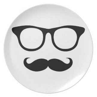 Hombre Nerdy del bigote Plato De Cena
