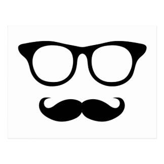 Hombre Nerdy del bigote Tarjeta Postal