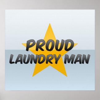 Hombre orgulloso del lavadero póster