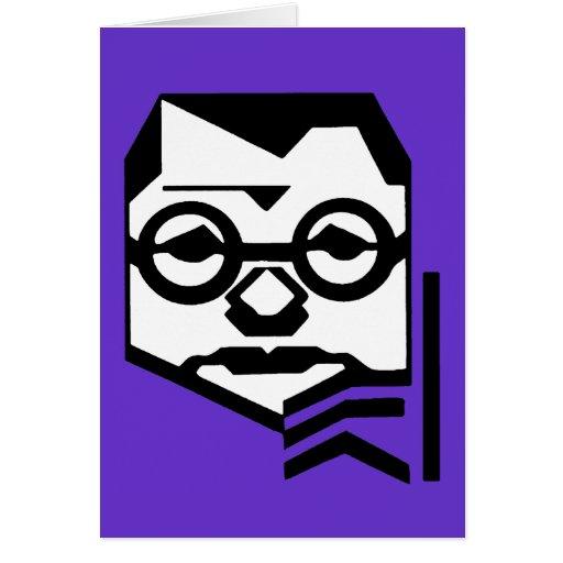 Hombre pensativo con los vidrios tarjeta de felicitación